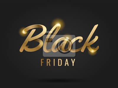 Black Friday Sale and discount banner design with 3d lettering. Concept for sale banners, posters, cards. Golden color on dark background.