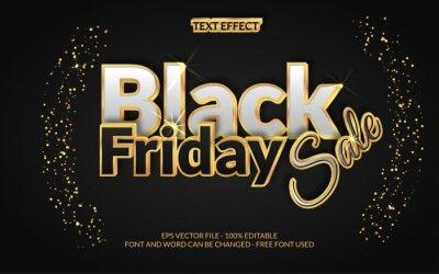 Obraz Black friday sale gold text effect style theme. Editable text effect vector.