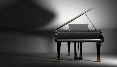 Obraz black gard piano on a dark background, 3d illustration