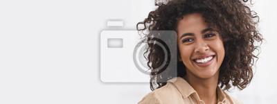Obraz Black girl with white smile, copy space