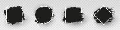 Obraz Black grunge backgrounds with white frame. Dirty artistic design elements, frames for text. Paint, ink brush strokes, brushes splashes - stock vector.