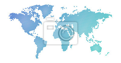 Obraz Black halftone dotted blue gradient world map. Vector illustration. Dotted map in flat design. Vector illustration isolated on white background