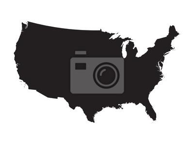 Obraz black map of United States