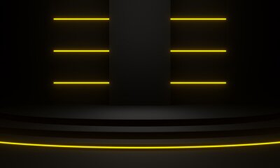 Obraz Black stage with yellow neon light. 3D rendering.