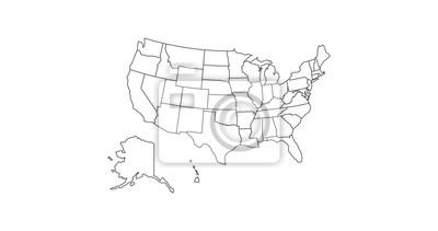 Obraz black thin line usa map contour. education infographic element. stroke flat style design. Vector illustration isolated on white background