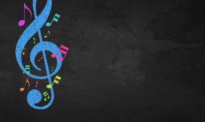 Obraz Blackboard Color Musical Notes
