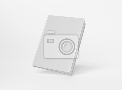 Obraz Blank A4 book hardcover mockup floating on white background 3D rendering