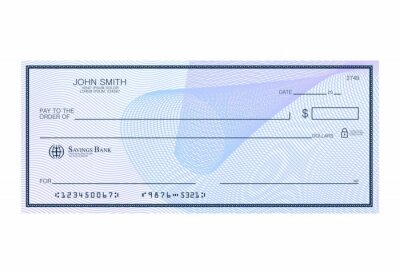 Obraz Blank bank cheque with abstract watermark. Personal desk check template with empty field to fill. Banknote, money design,currency, bank note, voucher, gift certificate, money coupon vector