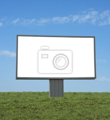 blank bilboard w zielonym polu, dodać swój tekst lub obraz