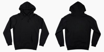 Obraz Blank black male hoodie sweatshirt long sleeve with clipping path, mens hoody with hood for your design mockup for print, isolated on white background. Template sport winter clothes.