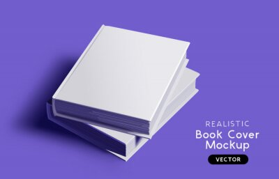 Obraz Blank book cover mockup design layout with shadows for branding. Vector illustration.