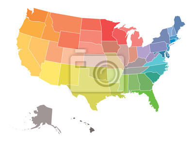 Obraz Blank map of USA, United States of America, in colors of rainbow spectrum