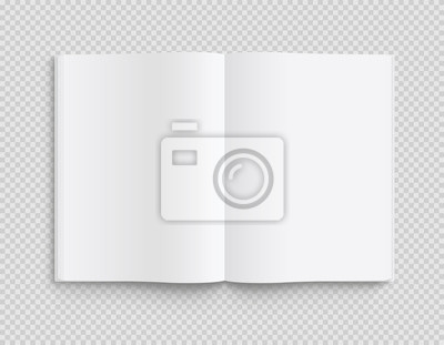 Obraz Blank opened book, magazine and notebook template with soft shadows on transparent background. Front view. - stock vector.