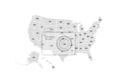 Obraz Blank similar USA map isolated on white background. United States of America usa country. Vector template usa for website, design, cover, infographics. Graph illustration.