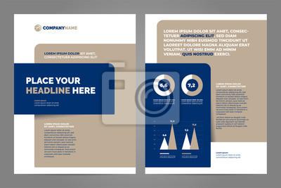 Błękitny i brown Biznesowy broszurki pojęcia ulotki projekta a4 szablon