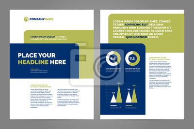 Obraz Błękitny i zielony Biznesowy broszurki pojęcia ulotki projekta a4 szablon