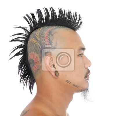 Bliska Strzał Głową Asian Punk Z Mohawk Stylu Włosy Tatuaż Na Obrazy Redro