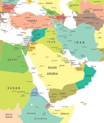 Obraz Bliski Wschód i Azja mapę - bardzo szczegółowe ilustracji wektorowych.