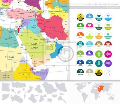 Bliski Wschód i Azja Zachodnia Mapa Ikony i płaskie