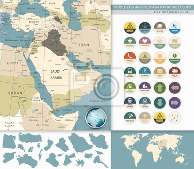 Bliski Wschód i Azja Zachodnia Mapa Retro Kolory