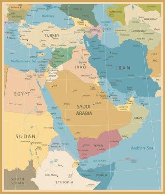 Obraz Bliski Wschód i Azja Zachodnia Mapa Vintage Kolory