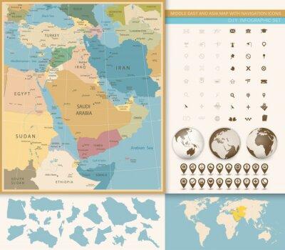 Bliski Wschód i Azja Zachodnia Mapa Vintage Kolory