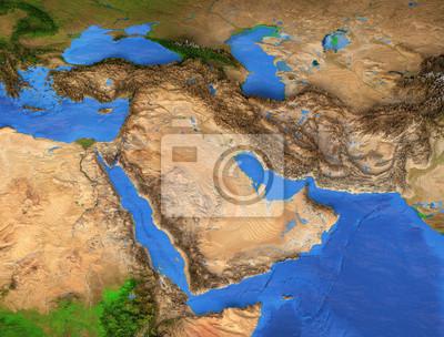 Bliski Wschód - region Zatoki Perskiej. Mapa wysokiej rozdzielczości