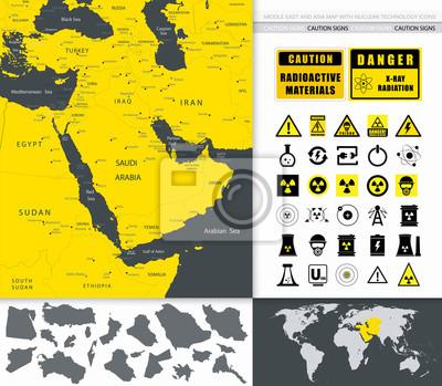 Bliskiego Wschodu i Azji Mapa i jądrowa Technologia Ikony