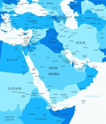 Obraz Bliskiego Wschodu i Azji Mapa kolorach niebieskim Mapa