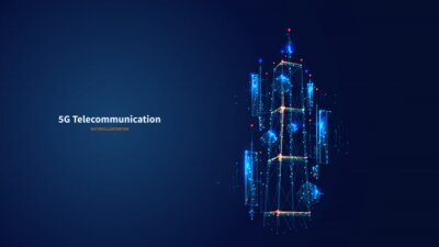 Obraz Blue abstract 3d isolated 5G antenna on innovation technology background. Low poly wireframe digital vector.Polygons and connected dots.Internet telecommunication tower futuristic concept.