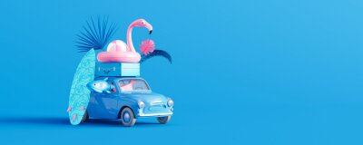 Obraz Blue car with luggage and beach accessories on blue background. Summer travel concept 3D Render 3D illustration