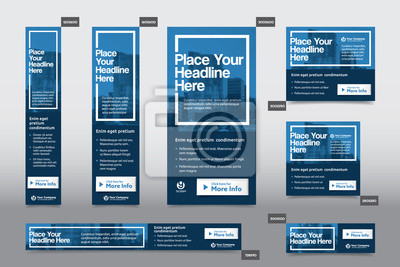 Obraz Blue Color Scheme with City Background Corporate Web Banner Template in multiple sizes. Easy to adapt to Brochure, Annual Report, Magazine, Poster, Corporate Advertising Media, Flyer, Website.