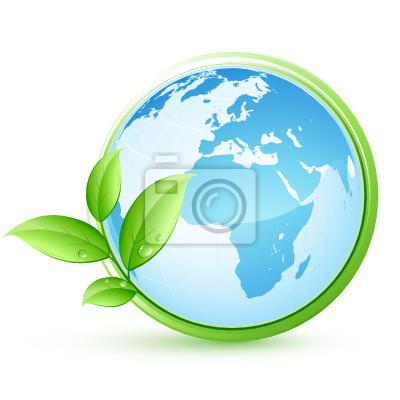 Blue planet earth i liści