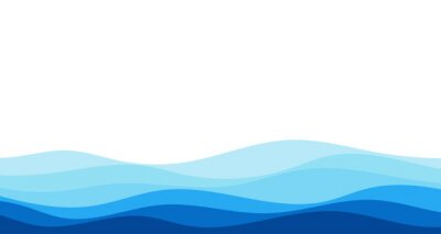 Obraz Blue river ocean wave layer vector background