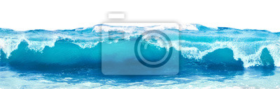 Obraz Blue sea wave with white foam isolated on white background.