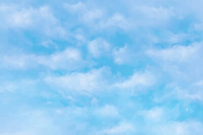 Obraz Blue sky and white cloud vector nature background. Realistic clouds in sky vector illustration