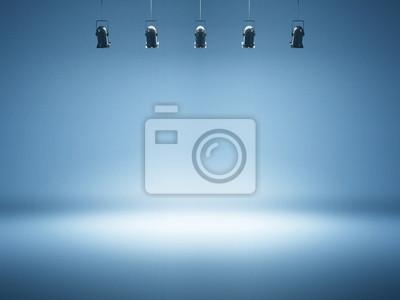 Obraz blue spotlight background with studio lamps