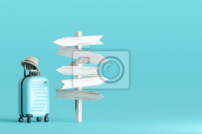 Obraz Blue suitcase and hat, camera with signpost on pastel blue background. travel concept. 3d rendering
