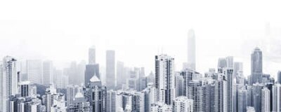 Obraz Blue toned modern cityscape background, panoramic city photo with urban skyline at foggy day