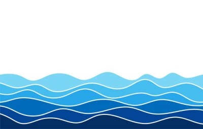 Obraz Blue water wave line flowing sea pattern background banner vector.