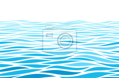 Obraz Blue water waves perspective landscape. Vector horizontal seamless pattern