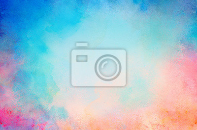 Obraz blue watercolor paint background design with colorful orange pink borders and bright center, watercolor bleed and fringe with vibrant distressed grunge texture