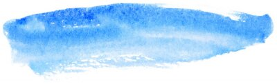 Obraz Blue watercolor stain on paper. Design element on white background.