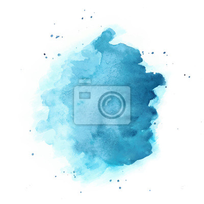 Obraz Blue Watercolor Vector Background. Round Stain Isolated on White.