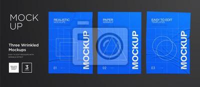 Obraz Blue Wrinkled poster template set. Glued paper. Vector Realistic wet wrinkled posters mockup