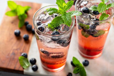Obraz Blueberry mojito in tall glasses with mint