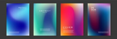 Obraz Blurred backgrounds set with modern abstract blurred color gradient patterns on white. Smooth templates collection for brochures, posters, banners, flyers and cards. Vector illustration.
