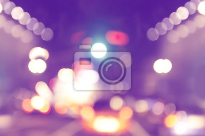 Blurred urban abstract background, city and traffic lights
