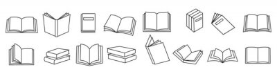 Obraz Book icons set in thin line style, isolated on white background, vector illustration.