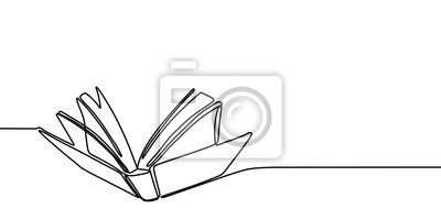 Obraz Book one line drawing banner. Continuous hand drawn minimalist minimalism design isolated on white background vector illustration.